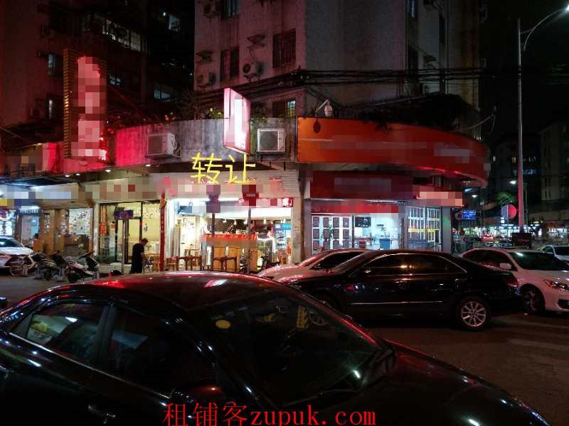 地铁口,十字路口铺,整条餐饮大排档烧烤街